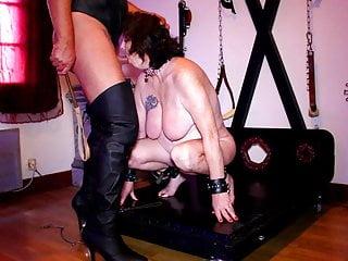 Humiliated whore...slapping tits, blowjob, piss, spitting
