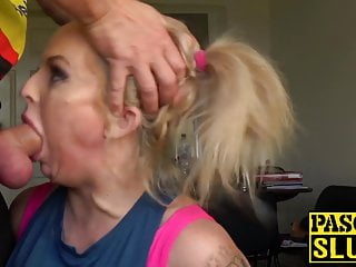 English submissive MILF roughly banged in all of her holes