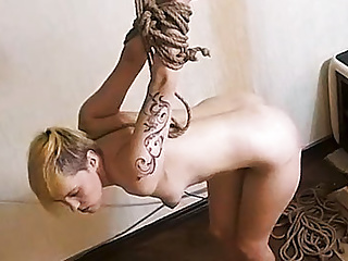 Sexy Blonde takes Bondage Fuck on Torture Machine! Real Cam
