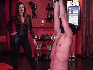 Hot brunette mistress whips her slave