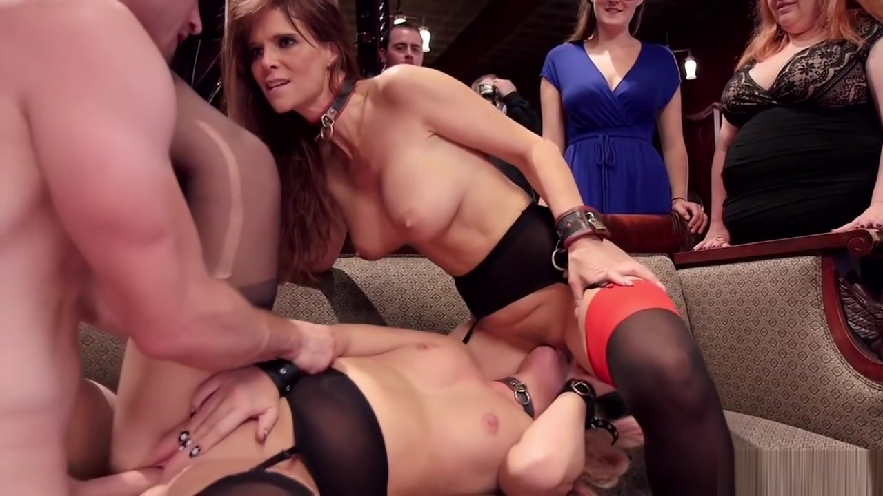 Blonde babe and MILF fuck at bdsm party