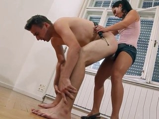 SOD, Sandra Fucks Slave with Strapon