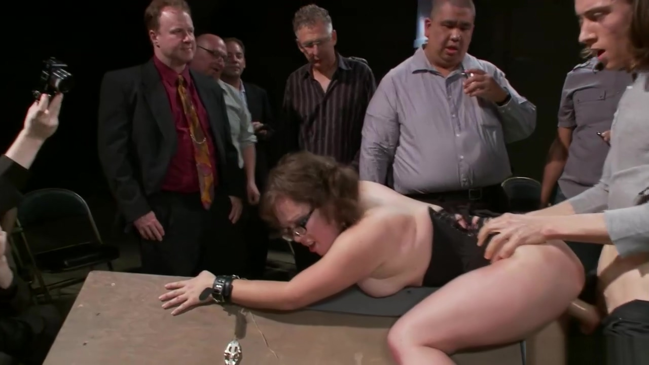 Slave pet gets spanked in public