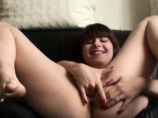 Submissive toys her pussy and gets spanked